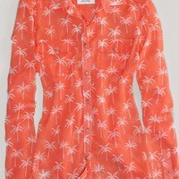 AEO Women's Palm Tree Sheer Shirt (Orange Flare)