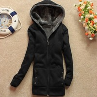 Women Casual Thicken Hoodie Outerwear Coat Jacket