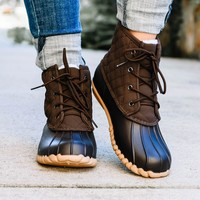 Autumn Brown Quilted Duck Boot