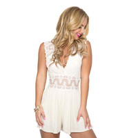 Lace Of My Life Romper In Ivory