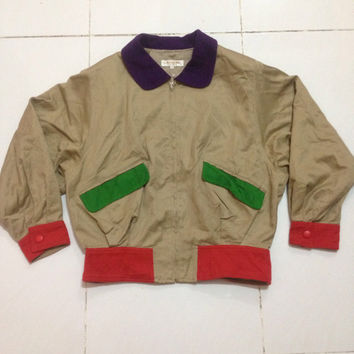 vintage LANCEL paris style bomber / zipper / colours full jacket nice design