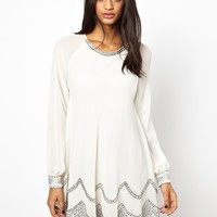TFNC Swing Dress with Embellished Hem - Cream