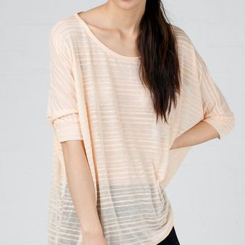 ANGL | Thin Sheer Stripe Oversize Top