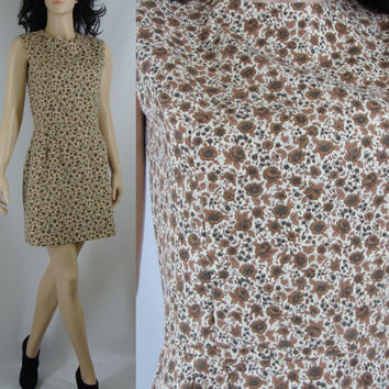 Vintage Sixties Mod Floral Cotton Scooter Dress, Small, 27 Inch Waist