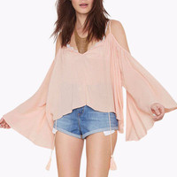 Beige Off Shoulder Bell Sleeve Top