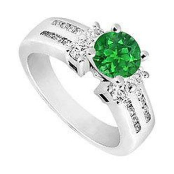 Emerald and Diamond Engagement Ring : 14K White Gold - 1.75 CT TGW