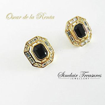 Rare Vintage Oscar de la Renta Crystal Earrings,  Jet Black Onyx Gold Clip Earrings, High Fashion Signed Jewelry