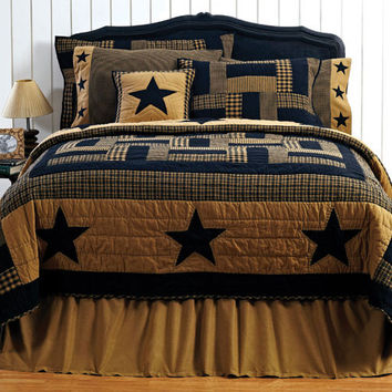 Delaware Star - 5pc King - Patchwork Quilt Super Set - Black and Tan - Country Stars