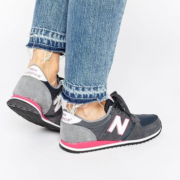 New Balance 420 Navy & Pink Suede Trainers at asos.com