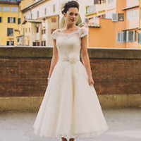 Ankle Length Ivory Vintage Wedding Dress with Handmade Flower Custom Size 2 4 6