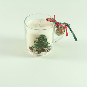 Handmade Cranberry Scented Soy Candle in a Vintage Christmas Glass Perfect for Gift Giving or Secret Santa