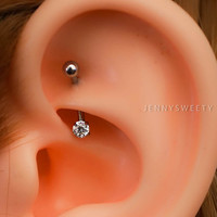daith piercing rook piercing snug piercing, helix piercing,helix earring,cartilage earring, cartilage piercing 16g base simple silver