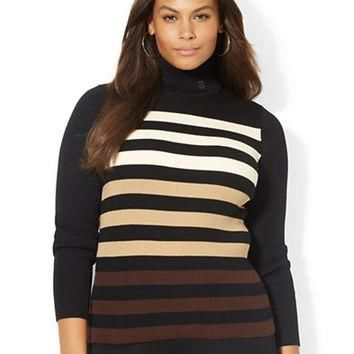 Lauren Ralph Lauren Plus Ombr¨¦ Striped Turtleneck Sweater