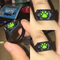 Black and Green Paw Prints Ring Inspired by Chat Noir's Miraculous Ring