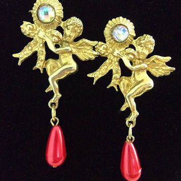 Angel Cupid Faux Pearl Post Earrings, Cherry Red Pearl, Faceted Bead, Gold Tone, Vintage