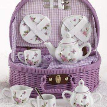 Childrens Porcelain Tea Set in Rounded Wicker Style Basket - Butterfly - FREE TEA INCLUDED!