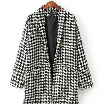 Black and White Houndstooth V-Neck Collar Woolen Coat