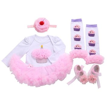 Winter Christening Girl Vestido Infantil Baby Clothing Ruffled Legwarmers Headband Shoes Set,Infantil Newborn Baby Girl Clothes