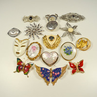 Vintage Brooches Lot of 15 Pins Destash Lot for Re-Purposing Wearing Crafts Butterflies Flowers Mask Cameos Vintage Jewelry Lot MJ LC Avon
