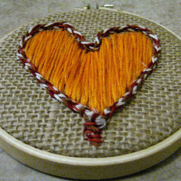 Embroidery Hoop Art  Orange Heart by TheHoneyShack on Etsy