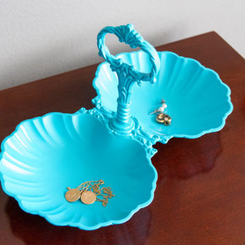 Turquoise VANITY Jewelry DISH - Bohemian, Shell, Scalloped, Tray