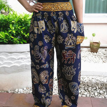 Blue Elephant Yoga Pants Cotton Harem Boho Style Printed Unisex Casual Aladdin Fisherman Hippie Massage pants elephants Gypsy Thai Women