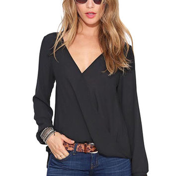 Black V- Neck Long Sleeve Loose Fitting Blouse