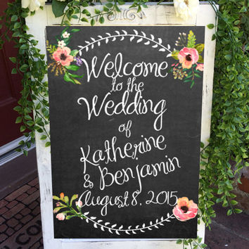 Custom Wedding Welcome Sign Chalkboard Fl Digital File