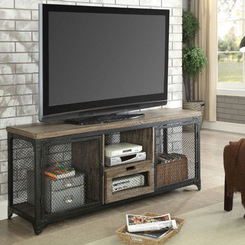 "Furniture of america CM5823-TV Culbertson industrial style rustic oak finish wood 58"" tv console"