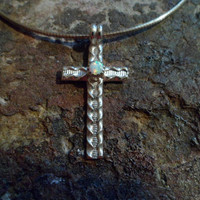 Authentic Navajo Native American Southwestern sterling silver white opal crucifix cross pendant/necklace.