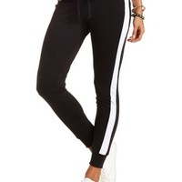 Side Stripe Skinny Sweatpants by Charlotte Russe - Black/White