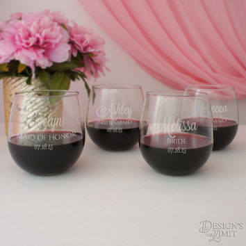 Stemless Personalized Wine Glass with Engraved Bridal Party Monogram Design Options & Font Selection with Gift Wrap Option