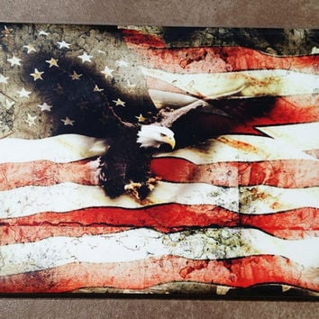 "8"" x12""Aluminum Print Bald Eagle Bursting Through American Flag, Memorial Day, Americana, patriotic, collage, montage"