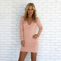 Good Morning Sweater Dress in Pink
