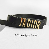 DIOR Women Fashion New Business Leisure Leather Personality Belt Black
