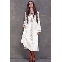 Cotton Linen O-Neck High Waist Lantern Sleeve Casual Dress