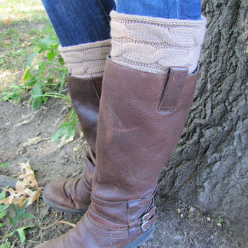 Boot Socks with Cuff-Full boot Sock Included-Brown Double Cable Knit Cotton-Full sock included