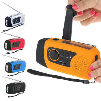 Emergency Solar Hand Crank FM Radio MP3 Player Flashlight Smart Cell Phone Charger with USB Cable