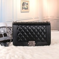 """Chanel"" Women All-match Fashion Simple Quilted Metal Chain Single Shoulder Messenger Bag"