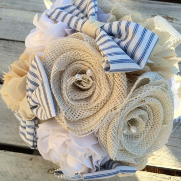 Wedding, Burlap Bouquet, Fabric Bouquet, Nautical Bridal Bouquet, Heirloom Bouquet, Boutonniere, Keepsake Bouquet, Rustic Wedding, Bride