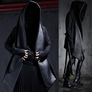 Leather and Wool Hooded Cloaked Pea Coat