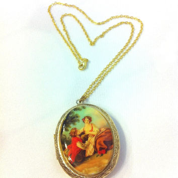 Vintage Necklace Locket Vintage Locket Courting Couple Victorian Style Oval Pendant Necklace Cameo Pendant Cameo Locket Cameo Jewelry Love