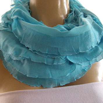 Shimmery Caribbean Blue infinity scarf with ruffles  Sea blue ruffle circle scarf Flamenco..Necklace Scarf Le dernier cri