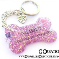 Custom Dog Memorial Key Ring - Bone Personalized with Glitter - Cute Dog key chain - Pet key ring - Handmade Remembrance Accessory Pink