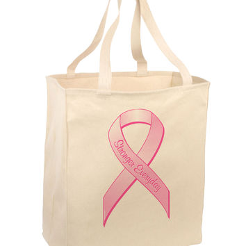 Pink Breast Cancer Awareness Ribbon - Stronger Everyday Large Grocery Tote Bag