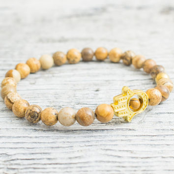 Brown jasper stone beaded stretchy gold Hamsa hand bracelet, custom made yoga bracelet, mens bracelet, womens bracelet