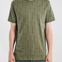 Khaki Arrows Print Slim Fit T-Shirt - Men's T-shirts & Tanks - Clothing
