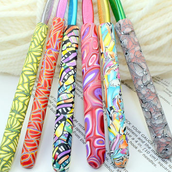 Polymer clay covered crochet hook SET of 6 Susan Bates new hooks, 6 designs, Handmade OOAK