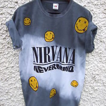 Dip Tie Dye Ombre Grunge Nirvana Nevermind Shirt Top Dress Festival Face Pattern
