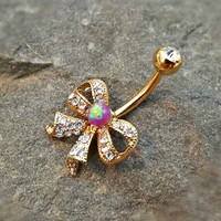 Gold Fire Opal Bow Purple Belly Ring Cute Fits in Navel Body Jewelry Navel Piercing 14ga Fits in Navel